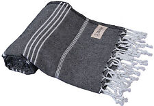 Bersuse 100% Cotton Anatolia Striped Pestemal Peshtemal Turkish Towel, Black
