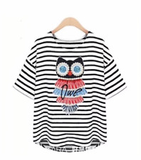#A250 Diamond Owl Print Blouse - Black Stripes