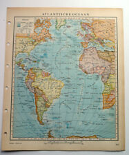 Atlantic Ocean Map Vintage 1950 Dutch Language