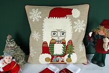 POTTERY BARN NUTCRACKER CREWEL PILLOW COVER -NWT- TWO HOLIDAY ICONS IN ONE!