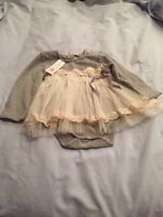 MAE. LI ROSE Baby Party/Holidays  Gray/Beige Dress Size 9/12 Months