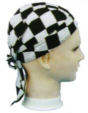 CHECKERBOARD Checker FITTED BANDANA w/TIES DOO DO DU RAG Head Wrap Cap