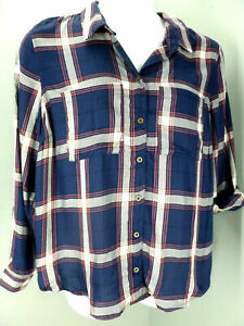 Charlotte Russe Button Up Shirt Women's Plus Size 2X Navy Plaid Long Sleeve NEW