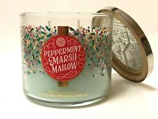 BATH & BODY WORKS PEPPERMINT MARSHMALLOW LARGE 3-WICK FILLED SCENTED 14.5 CANDLE