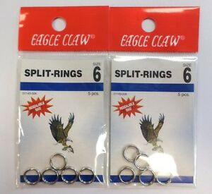 Eagle Claw Split Rings 2 Pack QTY 5 Size 6 #01143-006 623W