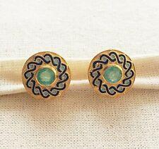 Mesmerizing Emerald  14K Gold Over Sterling Silver Enameled Earring
