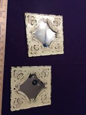Distressed Rustic Heavy Metal Lot Of 2 Ivory Decorative Wall Mirrors