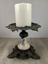 Vintage Ceramic and Metal Lamp Piece Candle Holder Early Ca. 1900's