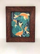 Motawi Koi Pond Art Tile in a Family Woodworks Oak Park Arts & Crafts Frame