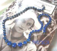 VINTAGE 1950s Vivid Sapphire Crystal Rhinestone Art Deco RIVIERE NECKLACE