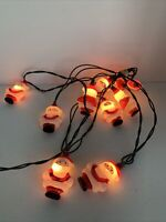 Santa Claus Blow Mold Vintage 10 Lights String Xmas in Working Condition