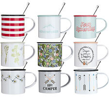 Single Camping Mugs With Teaspoons 350ml Novelty Tea Coffee Metal Travel Cups