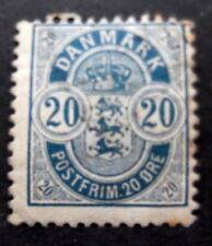 Denmark-1884-20 Ore Blue-Used