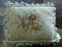 "12""x16"" Decorative French Floral Needlepoint Hand Woven Tassel Cushion Pillow"