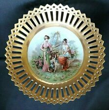 Prussian Reticulated Porcelain Gold Encrusted Antique Bowl Cupid Ladies Germany