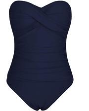 Hilor Women's Size 14 Navy Blue One Piece  Bandeau Bathing Suit
