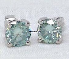 2.56 Ct Off White Blue Four Prong Moissanite Stud 925 Sterling Silver Earrings
