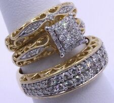 3Pcs/Set Vintage 18K Gold Filled White Sapphire Ring Women Men's Wedding Jewelry