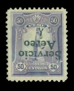 PERU 1927 AIRMAIL Overprinted  50c violet - INVERTED OVERPRINT - Sc# C1a UNUSED