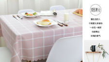 Kitchen home decor waterproof pink dining-table plaid oil proof PVC tablecloth