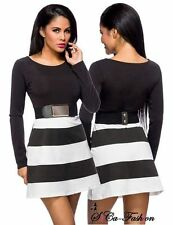 Gestreifte Mini-Damenkleider mit Rundhals-Ausschnitt für Clubwear-Anlässe