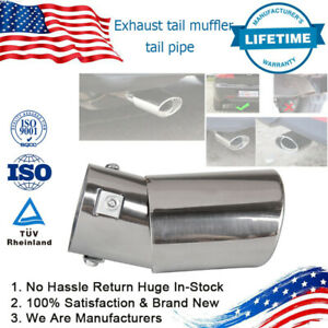 Car Round Stainless Steel Chrome Exhaust Tail Muffler Tip Pipe Left Right Rear