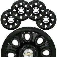 "Set of 4 Chevy 6 Lug 17"" Black Wheel Skins Full Rim Covers Center Hub Caps New"