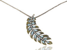Golden  Mystic Feather Shape Blue Bead Leaf Branch Collar Fashion Necklace 121