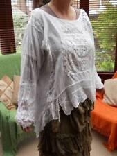 Long Sleeve Collarless No Pattern Cotton Women's Tops & Shirts