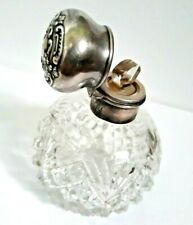 BLACKINTON English Victorian Sterling Silver Topped Crystal Scent Perfume Bottle