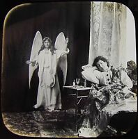 Glass Magic Lantern Slide DREAMS OF PARADISE NO3 C1890 VICTORIAN TALE ANGEL