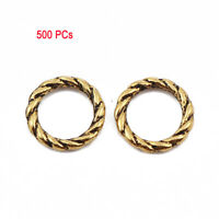 500 PCs Zinc Based Alloy Closed Soldered Jump Rings Findings Antique Gold 8mm