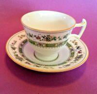 Royal Doulton Pedestal Teacup And Saucer - White Green Turquoise Gold - England