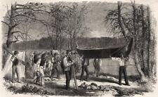 Assiniboine & Saskatchewan exploring expedition. Portaging canoe & baggage, 1858