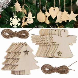10X Wooden MDF Christmas Tree Craft Blank Embellishment Hanging Tag Xmas DIY Gif