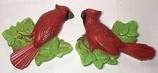 2 Chalkware 1972 Miller Studios Cardinals red bird wall hanging plaques