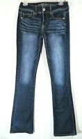 American Eagle Kick Boot Womens Stretch Dark Wash Jeans Tag Size 0 Long