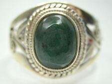 2.76CT VINTAGE NATURAL EMERALD STERLING SILVER MENS RING 10 T1/2