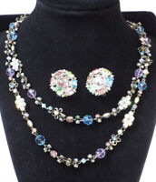 """Sorrelli CRYSTAL 18"""" Long Strand Necklace PINKS BLUES Antique Tone Double Sided"""