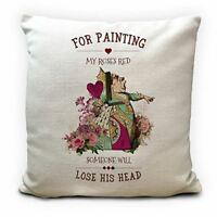 ALICE IN WONDERLAND Cushion Cover Queen of Hearts Roses Quote Home Decor Gift
