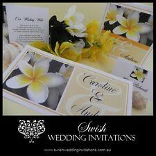 White Frangipani Luxury Beach Engagement Wedding Invitations - Sample DL Invites