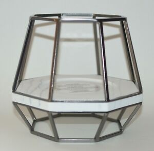 BATH BODY WORKS GEOMETRIC PEDESTAL FRAME LARGE 3 WICK CANDLE HOLDER SLEEVE 14.5