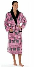 Ladies Thermal Coral Fleece Dressing Gown Bathrobe pink 14-16
