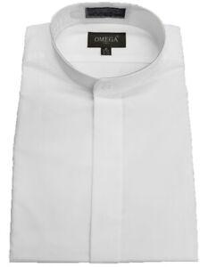 Men's mandarin collar(banded collar) White dress Shirt, non pleat