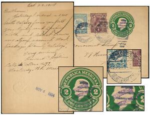 MEXICO MONTERREY O/P 2¢ PSC +2¢ H C HOPKINS 1914-US PC119-16