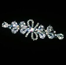 USA BARRETTE Hair Clip using Swarovski Crystal Hairpin Bridal Silver Clear 04