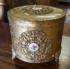 Antique Thorens Gold Tone Filigree & Guilloche Swiss Made Powder Box Music Box