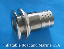 "Boat Thru Hull Fitting Drain - 1 1/2"" -1 5/8""  Hose Barb- Marine Stainless Steel"
