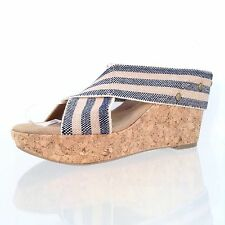 Women's Abound Lotty Wedge Sandal Tan/ Blue Color Shoes Size 8 M New!