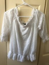 Japanese Fashion Lolita FJER Brand Top Lace Floral White Sheer